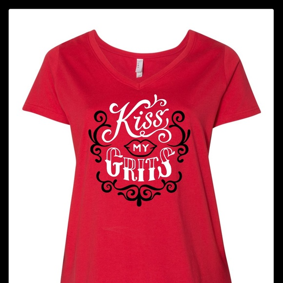 2c4839e48654a LAT Apparel Tops | Kiss My Grits Country Southern Plus Size Vneck ...
